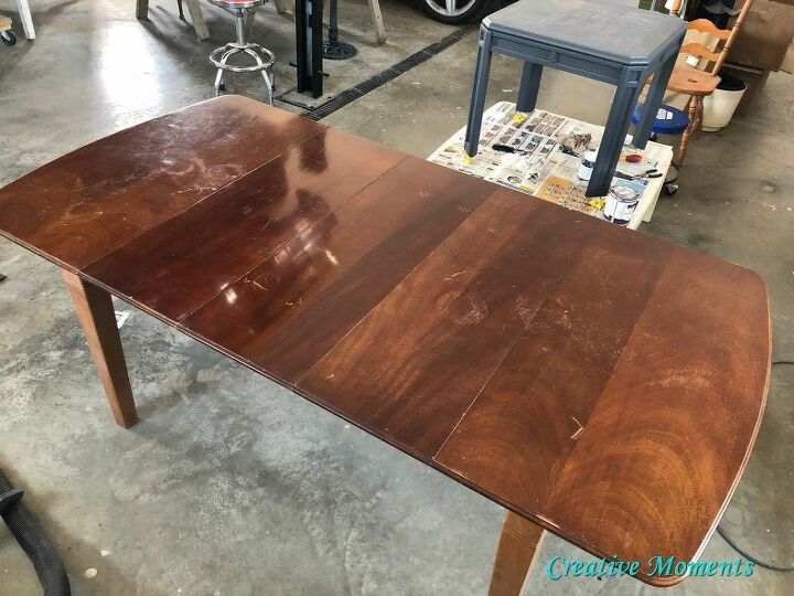 refinishing a dining table with stain finishing oil and fusion mineral