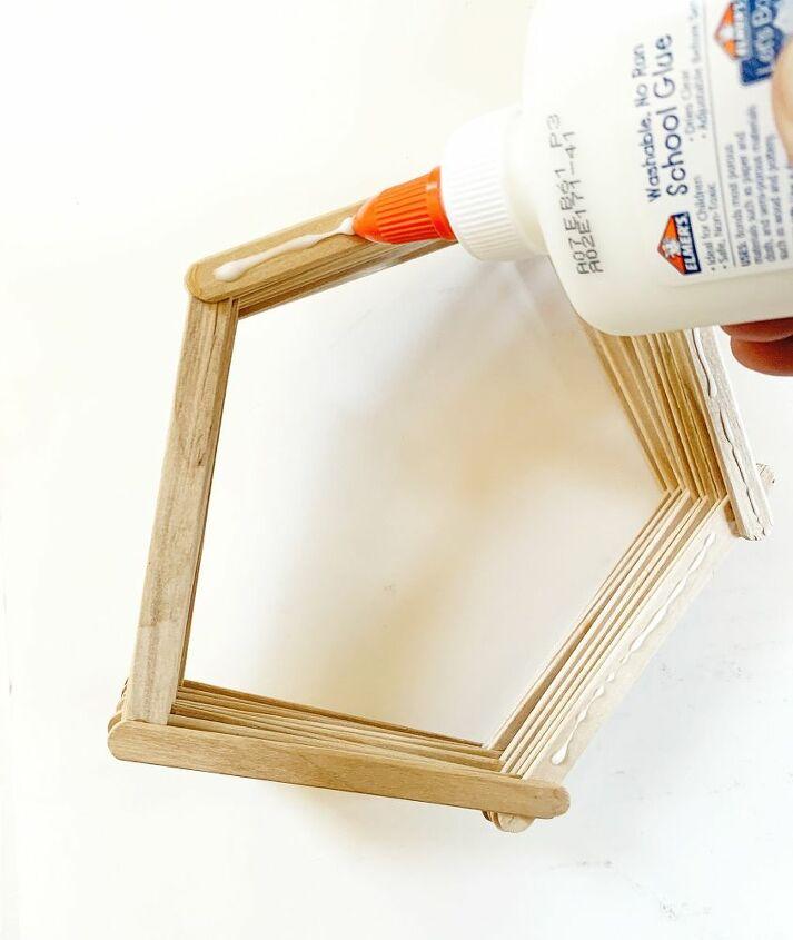 diy pentagon popsicle stick shelf