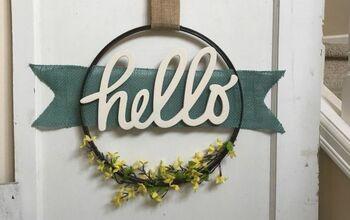 """Burlap """"Banner"""" Hoop Wreath"""