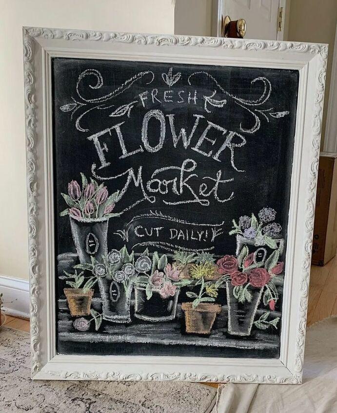 upcycled vintage framed chalkboard
