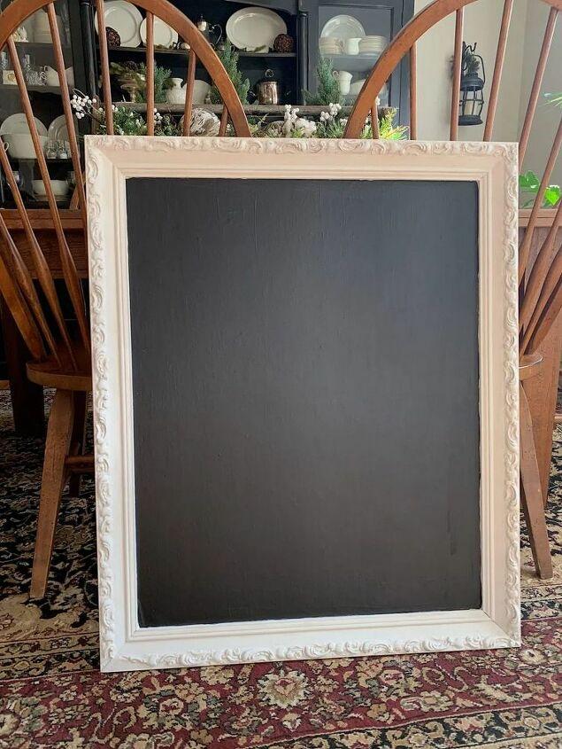 After the vintage framed chalkboard was dry.