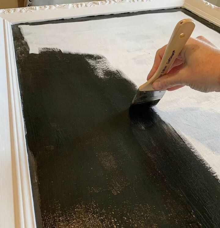 Applying the chalkboard paint.