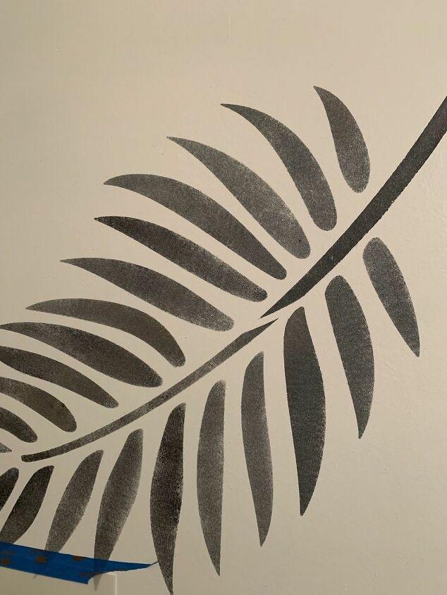Palm Leaf Stenciled Black