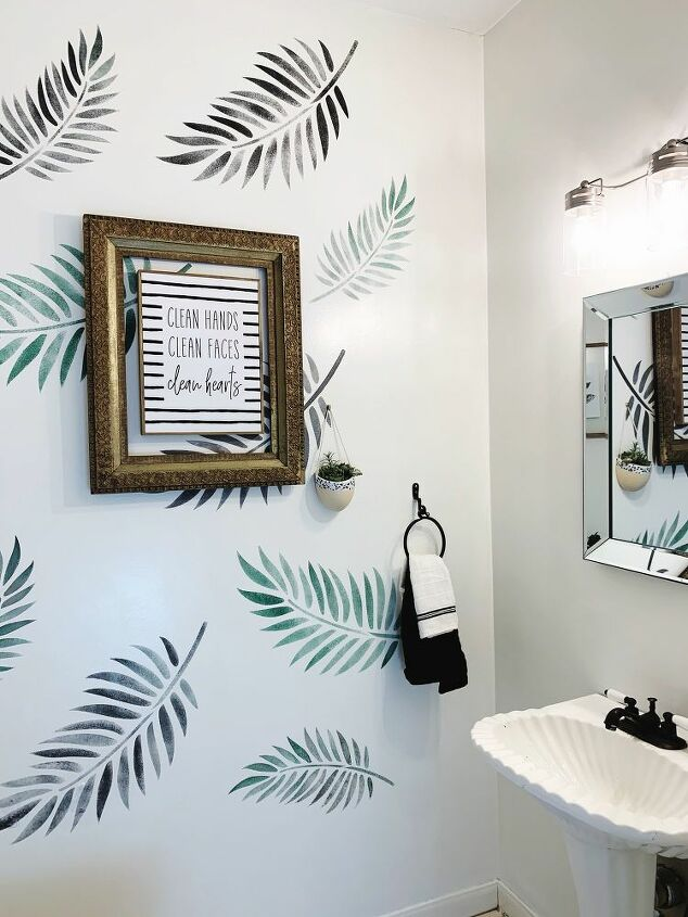 How To Stencil A Powder Room Wall With Stencil Revolution Hometalk