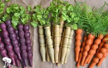 Repurposed Wooden Spindle Carrots