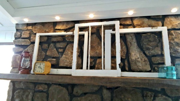 upcycled old window into wall art