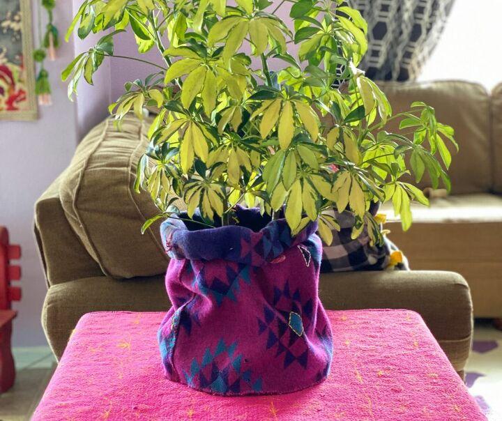 embroidered basket planter