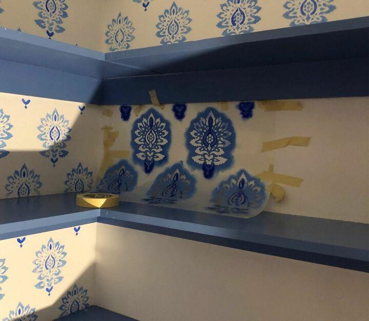 blue and white linen closet makeover
