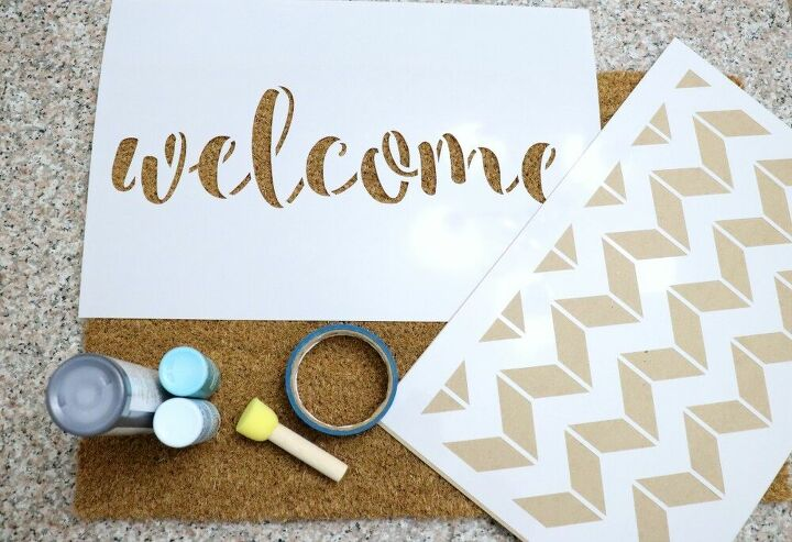 how to make a stenciled welcome mat