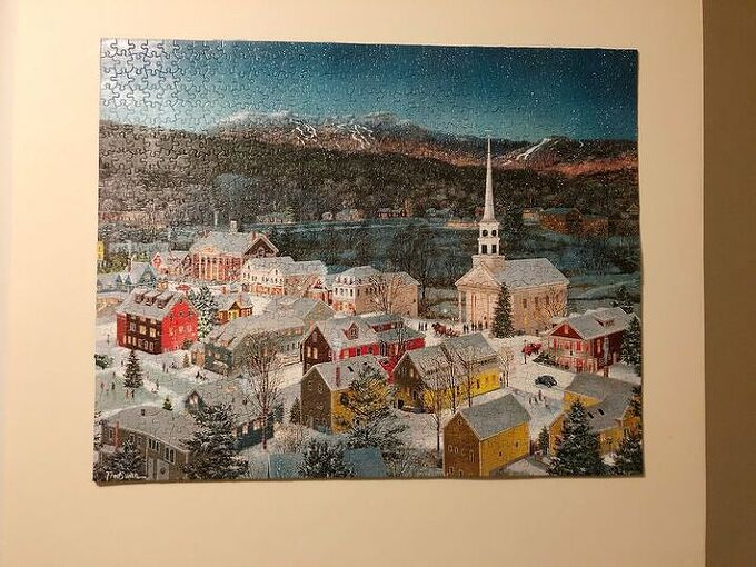 how to save and hang a jigsaw puzzle with next to no glue no frame, A jigsaw puzzle of Stowe Vermont