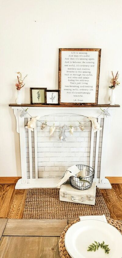 upcycled old dresser mirror to faux mantle