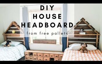 Pallet House Shaped Headboard for a Shared Boys Bedroom
