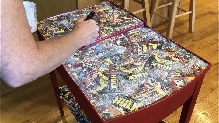 diy superhero comic side table makeover