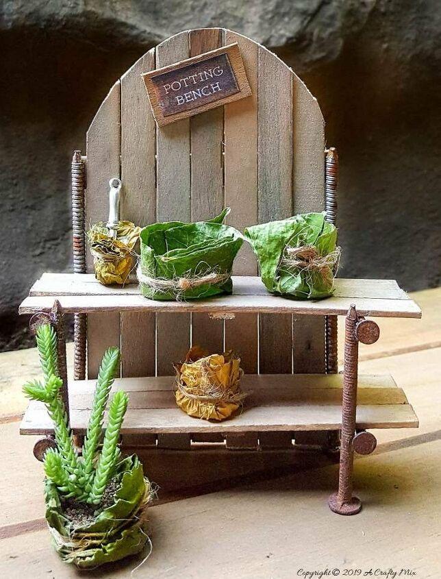 diy miniature potting bench for your fairy garden