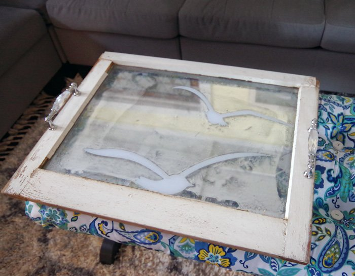 serving tray old window upcycle for the living room