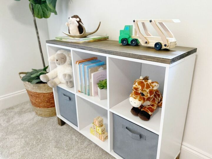 turn a cheap cube storage shelf into a piece of furniture