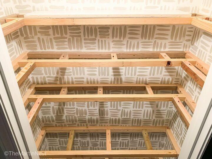 built in floating pantry shelves