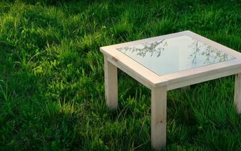 Recycle Old Wood Into a Chic Wood and Glass Coffee Table