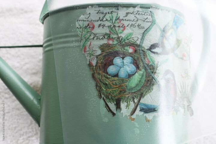 watering can makeover with decoupage and napkins