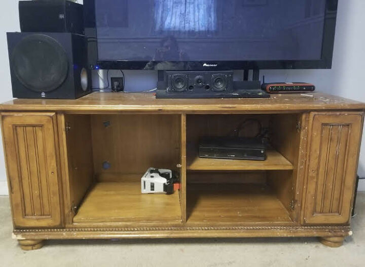 refinished cottage style entertainment center