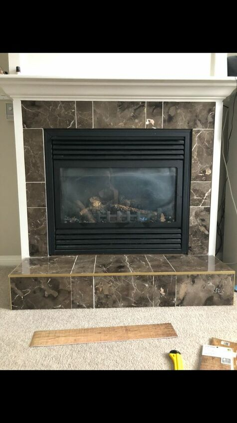 fireplace tile update with stickers