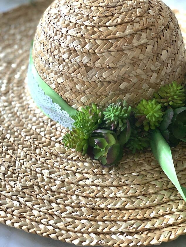 simple succulent wreath made with a hat