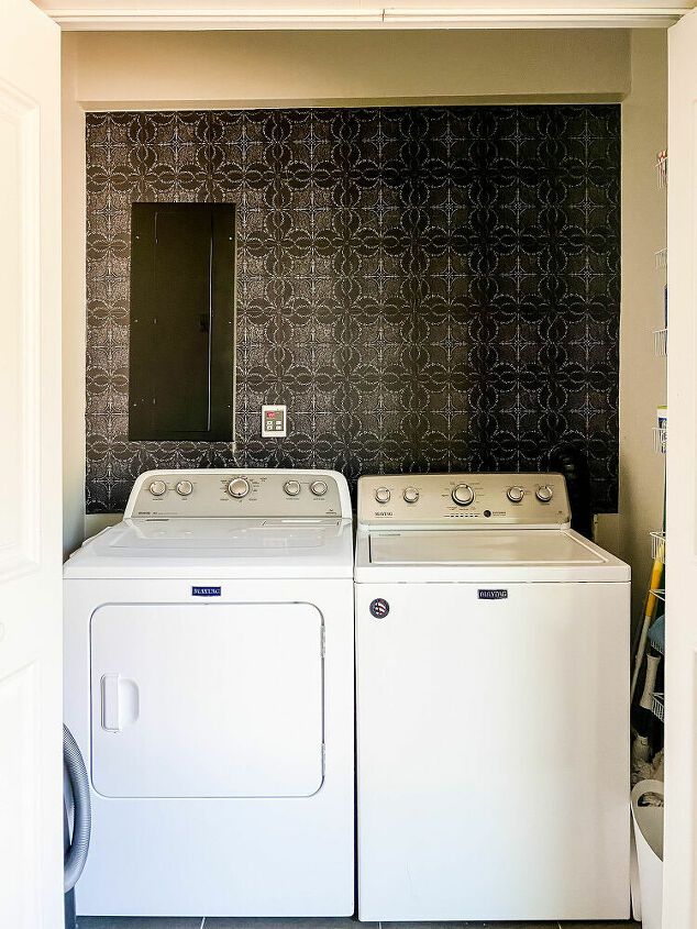 Finished laundry room wallpaper