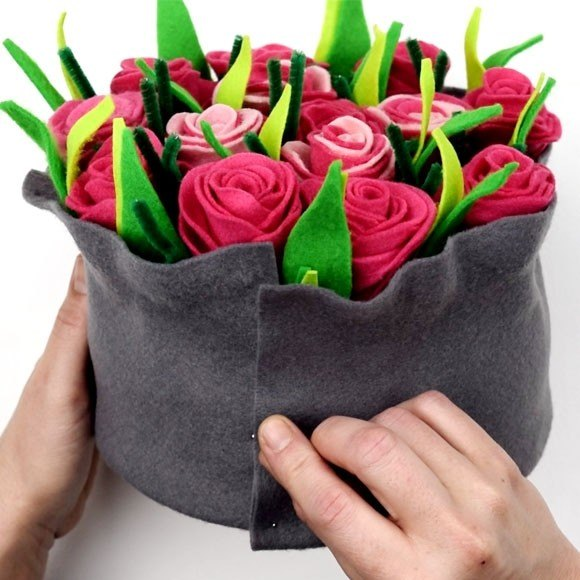 felt flower arrangement