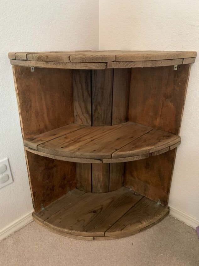 corner shelves from a wooden spool