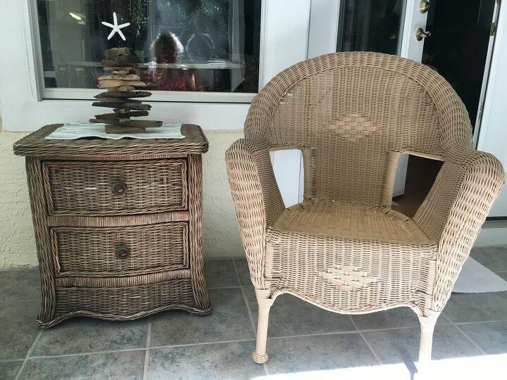 q how to darken faux wicker furniture
