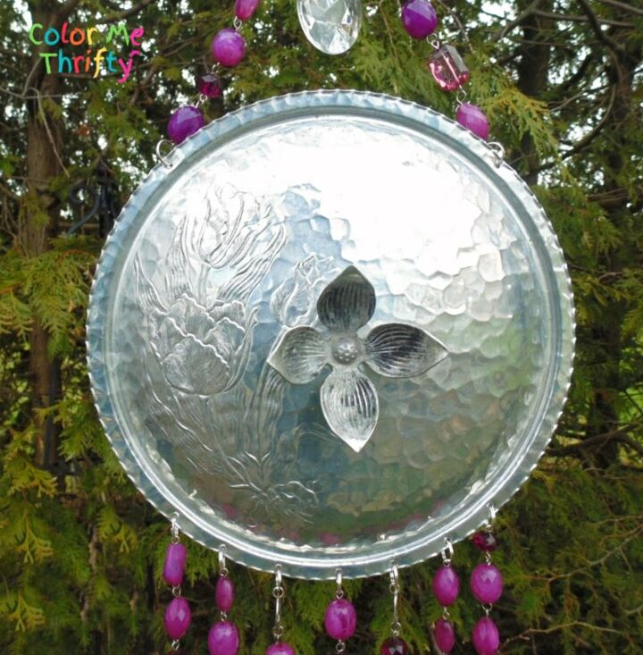 repurposed chafing dish lid into wind chimes