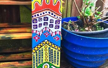 How to Make Some Colourful  Yard Art With a Plank of Wood!