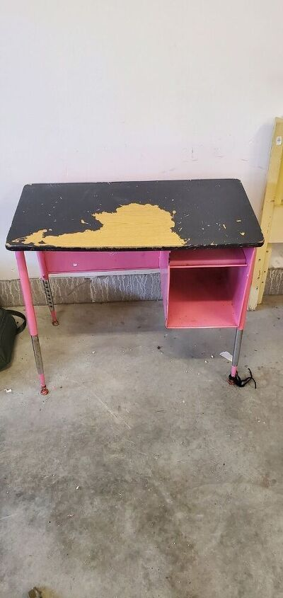 ugly metal vintage desk makeover
