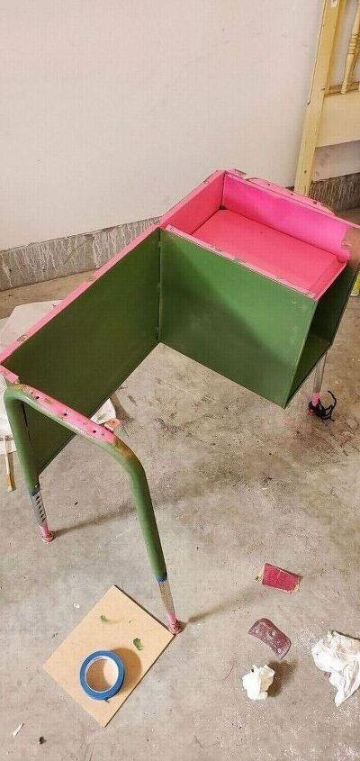 ugly metal vintage desk makeover