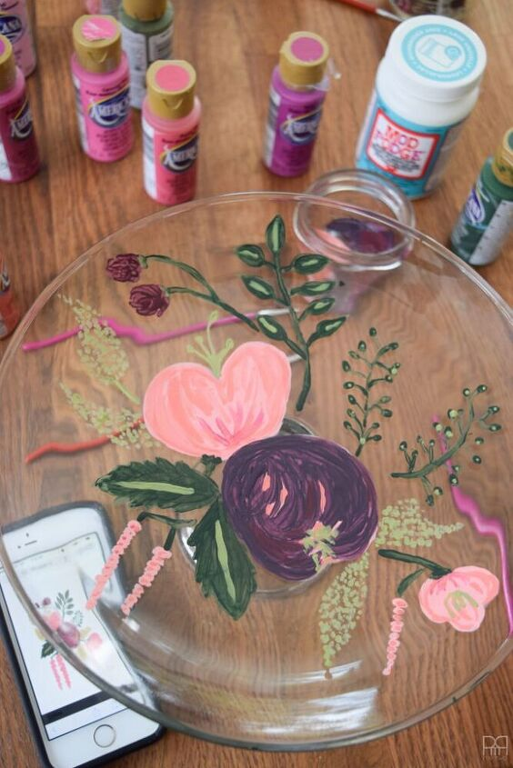 painted florals on glassware