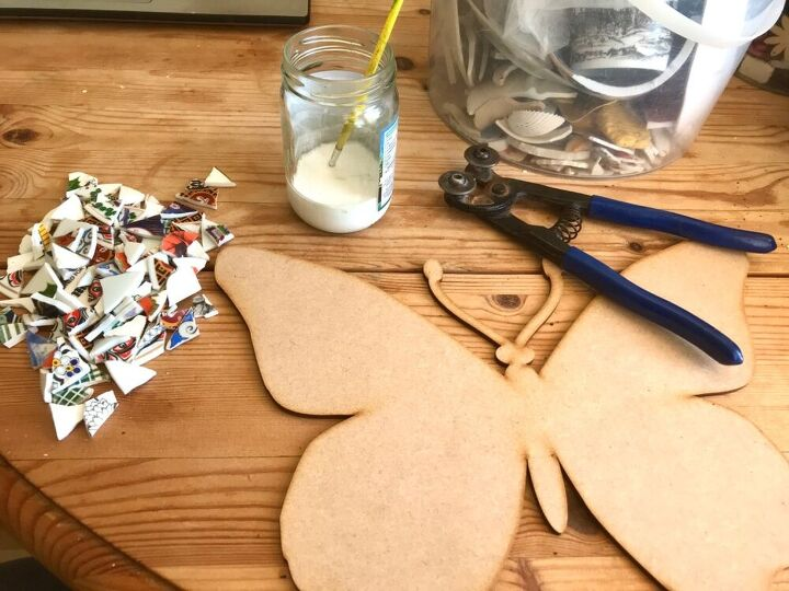 how to transform broken crockery into a beautiful piece of yard art, Laser cut wooden base