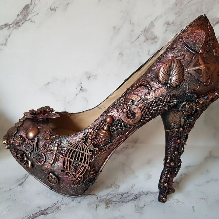 mixed media shoe ring holder