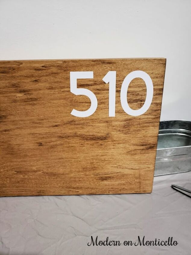 diy modern house number sign with planter bucket