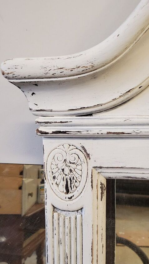 antique style mirror turned faux fireplace mantle