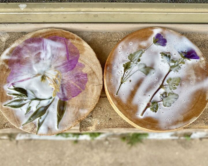 diy pressed flower coasters