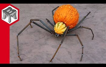 Create Spooky Outdoor Halloween Decor With Two Pumpkins and Rebar