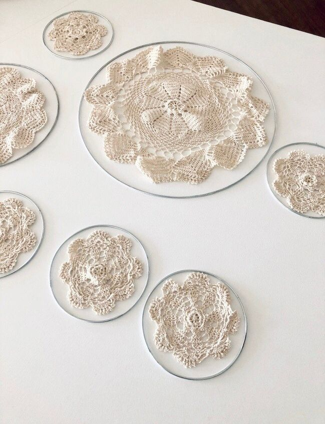 Laying out all my rings & doilies