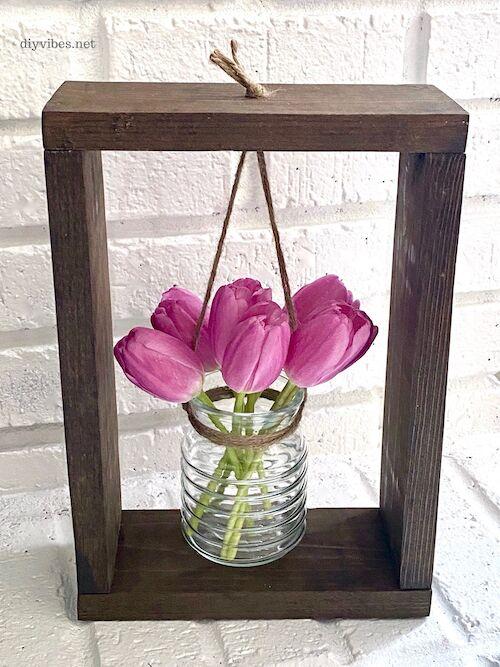 wood framed flower vase