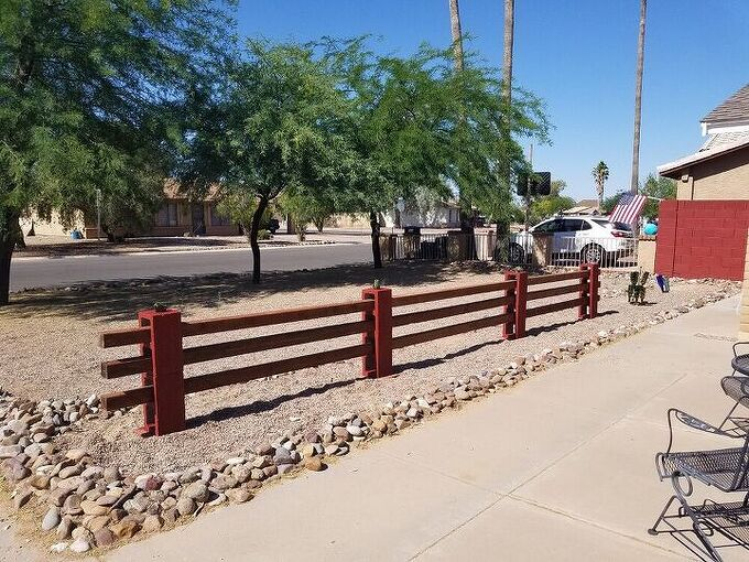 cinder block fence with 4x4 s