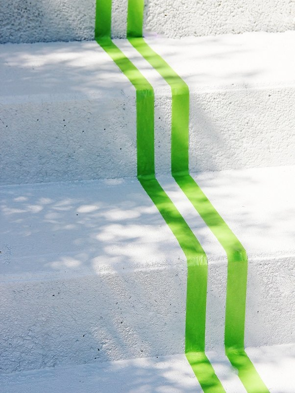 painted striped front porch steps