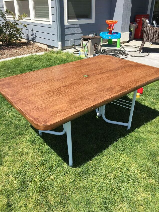 turn a glass top table into a wood top like magic