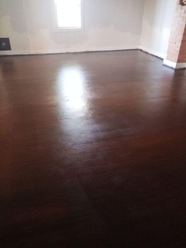 painted vinyl floor to look like wood
