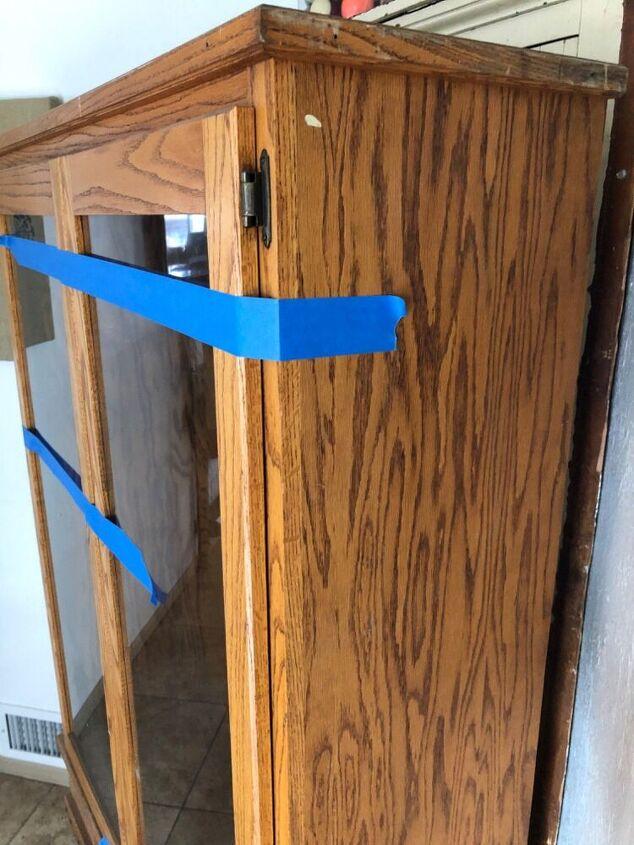 old oak gun cabinet to gray pantry, Oak cabinet