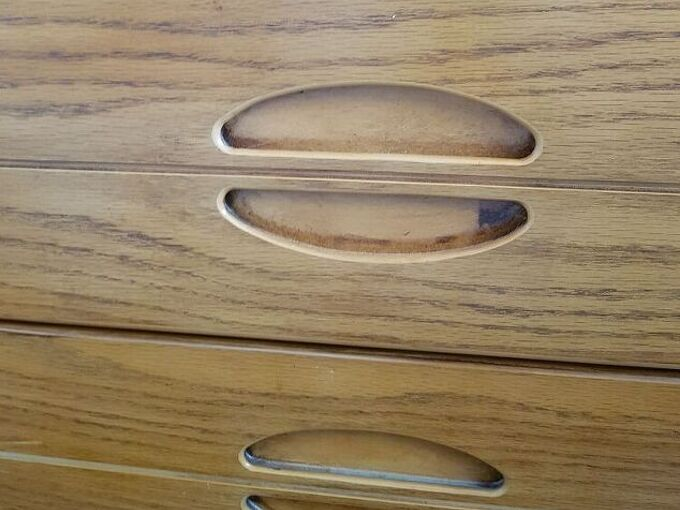 q how to fill recessed drawer pulls
