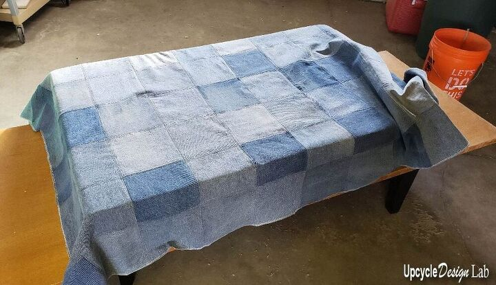footstool fix upcycled denim and mattress foam